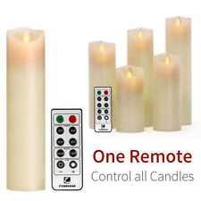Luminara Wax Moving Wick Flameless Candle Set Of 5 Candle + 10-key Remote