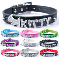 Personalized Rhinestone Name Charms Dog Collar Leather Puppy Cat Dog Collars XS