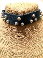 Womens Ladies Statement Blue Denim Jeans Cream Faux Pearl Collar Choker Necklace