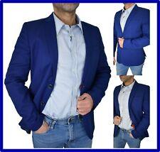 Blazer Giacca abito da uomo elegante slim fit blu royal in cotone estiva 44 46