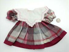 "Zapf Creation Doll Dress Pink & Burgundy Plaid W/White Bib & Pink Ribbon 8"" Long"