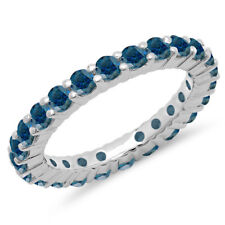 1.00 CT 14K White Gold Round Blue Diamond Eternity Wedding Stackable Ring Band