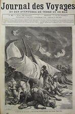 JOURNAL DES VOYAGES N° 40 de 1878 TEMPETE DANS LE DESERT / NAVIRE LE TEMERAIRE