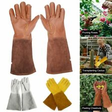 Unisex Leather Pruning Gloves Thorn Proof Long Sleeve Gardening Gauntlet 4 Size