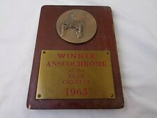 Vintage 1965 Anscochrome Winner of the Year Contest Plaque