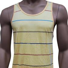 Oakley FRESH Tank Size M Medium Yellow Stripe Mens Slim Fit Sleeveless Singlet