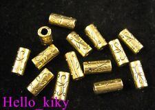 60pcs Antiqued Gold Floral Cylinder Spacers 12mm A266