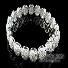 "LADIES WOMENS THICK LAB SIMULATED DIAMOND WHITE GOLD FINISH TENNIS BRACELET 7.5"""