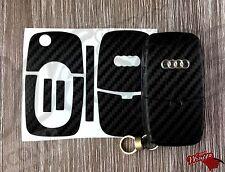 Black 3D Carbon Fiber Key Wrap Cover Overlay Audi Remote A1 A2 A3 A4 A5 A6 A8 TT