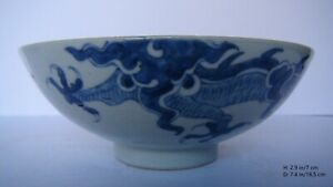 Chinese White Blue Porcelain Bowl with Dragons
