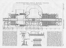 1909 Antique Engineering Print - 7400hp Zoelly Marine Turbine