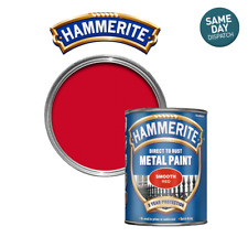Hammerite Direct to Rust Metal Paint Smooth Red 3 in 1 Paint - 750ml