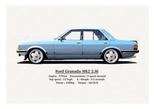 FORD GRANADA MK2 2.8i PRINT. CLASSIC. RETRO. LIMITED EDITION (40.) 420mm x 297mm