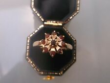 Women's Vintage 9ct Gold Cluster Ring Garnet Stones Weight 1.92g Size P stamped