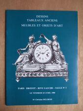 CATALOGUE ENCHERES 1980 DELORME DESSINS TABLEAUX ANCIENS MEUBLES OBJETS D'ART