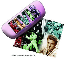 Spoontiques Padded Elvis Presley Eye Glass Case Collage with Matching Lens Cloth