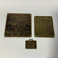 Vintage De Laval Separator Pulso-Pump Watch Fob Brass Plates Lot of 3 1911 1921