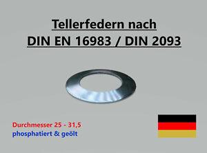 Tellerfedern DIN EN 16983 / DIN 2093 -  ø 25,0 - 31,5 mm - phosphatiert & geölt
