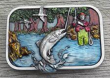 Fly Fishing Trout Fish Fisherman Siskiyou Vintage Belt Buckle