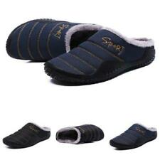 Large Size Men's Winter Indoor Slippers Shoes Fur Lined Warm Non-slip Slip on B