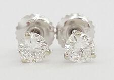 The LEO 0.51 ct 14k White Gold Round Brilliant Cut Diamond Stud Earrings