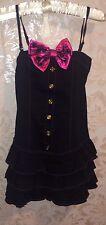 MA * RS azúcar vestido negro brillante con gran lazo rosa-gyaru, Japón