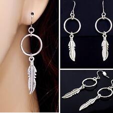#E121K Pair Women Men PIERCED HOOK 5cm Long Earrings Dangle Feather Hoop Drop
