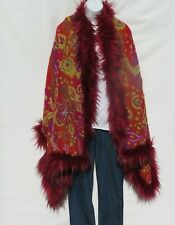 Yak+Sheep Wool Blend|Cape|Wrap|Stitch|Handcrafted|Handloomed|Faux Fur|Orange