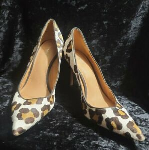 COACH NEW YORK TEDDIE POINTED TOE LEOPARD PRINT PUMP HEEL SHOES SIZE 10 B