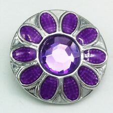 Noosa Chunks Ginger Style Snap Button Charms Purple Flower Rhinestones 20mm