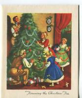 VINTAGE VICTORIAN COLONIAL CHRISTMAS TREE DECORATING ORNAMENTS GREETING ART CARD