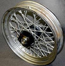 "43086-81 Harley Davidson 16"" Spoked Rim Wheel + 3/4"" Axle Hub 40 Chrome Spoke"