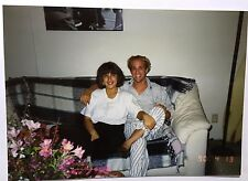 Vintage 90s PHOTO Man & Woman Sitting On Couch In Their Cozy Pajamas