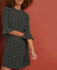 NEXT Black Polka Dot Flute Sleeve Tea Dress Size 20 BNWT RRP £32 Holiday Party