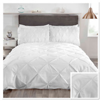 Rapport Balmoral Pinch Pin Tuck Duvet Cover Bedding Set White
