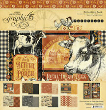 "Graphic 45 Farmhouse Collection Pack 12 x 12""   Paper Pad & Stickers"