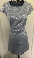 OASIS BNWT Blue and Silver Floral Zip Back Dress UK 8 Wedding Races Christening