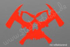 """Feuerwehr - Helm - Aufkleber """"Skull & Hatchet"""" in rot reflektierend"""