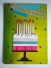 "PAPER MAGIC ~ GLITTER & PINK GEMS ""HAPPY BIRTHDAY"" CAKE GREETING CARD + ENVELOPE"