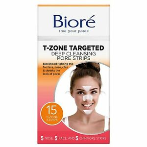 Bioré T-Zone Targeted Deep Cleansing Pore Strips, 15 Count, (5 Nose + 5 face...