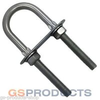 10mm x 130mm Stainless Steel U Bolts with Plate Nuts & Washers FREE DELIVERY