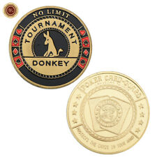 WR No Limit Tournament Donkey - Casino Chip Poker Card Guard Protector GOLD Coin