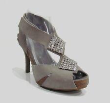 Pedro Garcia Gray Suede Crystal Peep Toe Platform Sandals Size 37.5/7.5