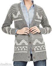 NWT Banana Republic Wool Blend Jacquard Long Cardigan Size M