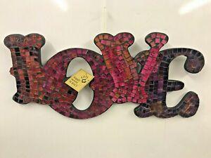 Mosaic Love Sign Mirror Glass Hand Made In Bali Fair Trade Wall Hanging