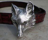 Cavalli Del Mar Large Designer Sterling Silver Fox Belt Buckle Heavy Impressive