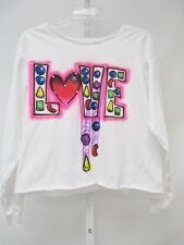 NEW Penelope Wildberry Girls White Multi Love L/S T Shirt Sz XL 14-16 $49