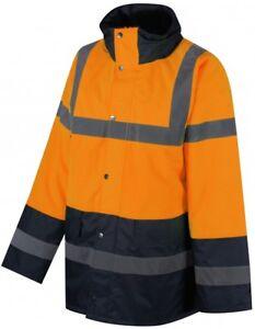 Traega TJK03 Two Tone Safety Parka Jacket Waterproof Zip Concealed Hood