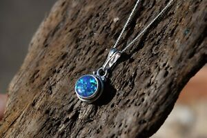 925 STERLING SILVER GREEN OPAL GEMSTONE DROPLET NECKLACE TRIPLE COLOUR