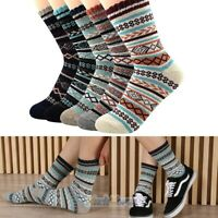 5 Pairs Men's Multicolor Fashion Warm Knit Wool Extra Thick Winter Crew Socks US